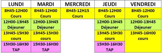 Horaires cole primaire Roz Avel